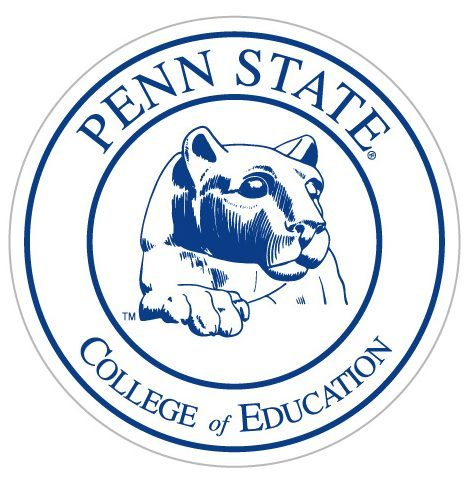 Round logo featuring Penn State Nittany Lion statue head in the center and the words Penn State College of Education encircled around.